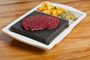 Sirloin Steak on the SteakStones Ceramic Single Platter