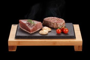 The SteakStones Raised Steak Sharer. The best Hot Stone Products you can find, guaranteed for life.